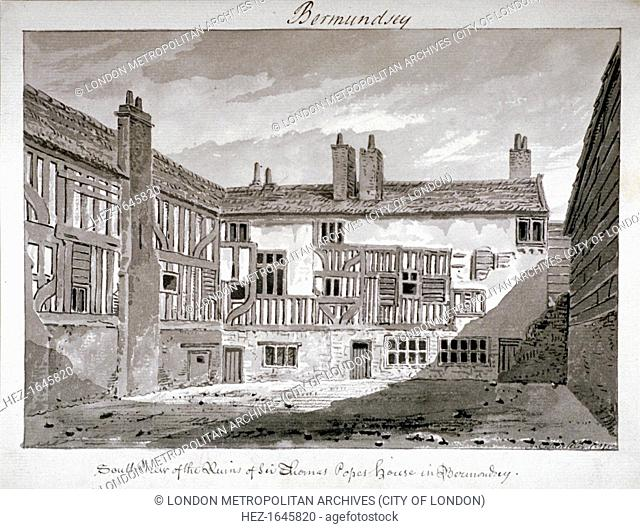 South view of the remains of Thomas Pope's house, Mill Lane, Bermondsey, London, 1808. The house had been erected by Sir Thomas Pope on the site (and had...