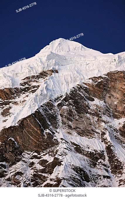 Snow and ice on a mountain summit near Makalu, in the Everest region of Nepal