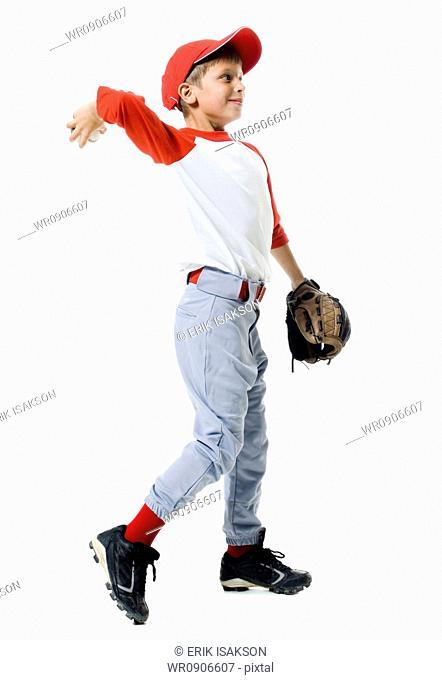 Baseball player throwing a baseball