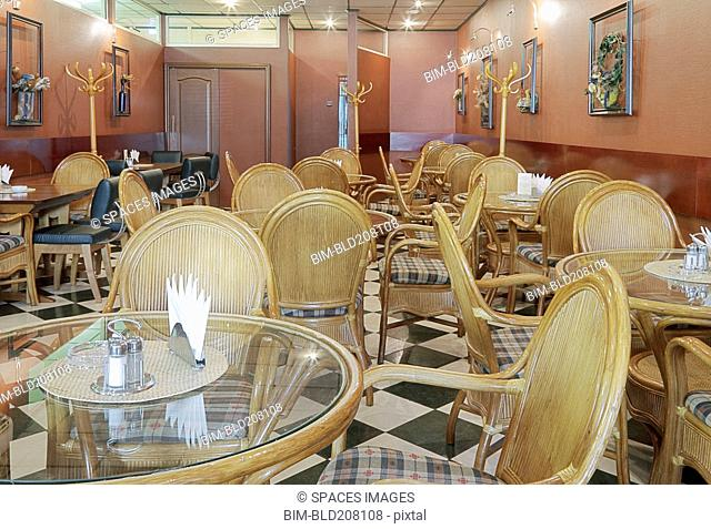 Cafe With Rattan Chairs and Tables