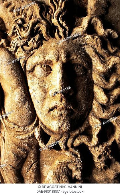 Mask, detail from a Roman sarcophagus in the Territorial Museum of Lake Bolsena, Bolsena Castle or Monaldeschi della Cervara Fortress (Monaldeschi Fortress of...