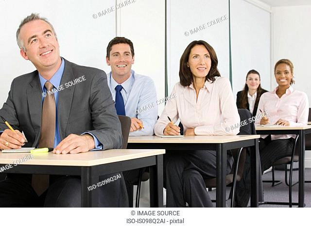 Business students in a lesson