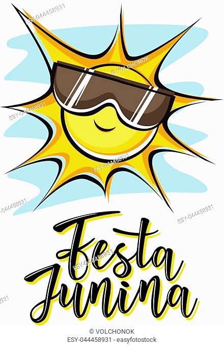 Festa Junina illustration traditional Brazil June festival party. Vector illustration of lettering poster
