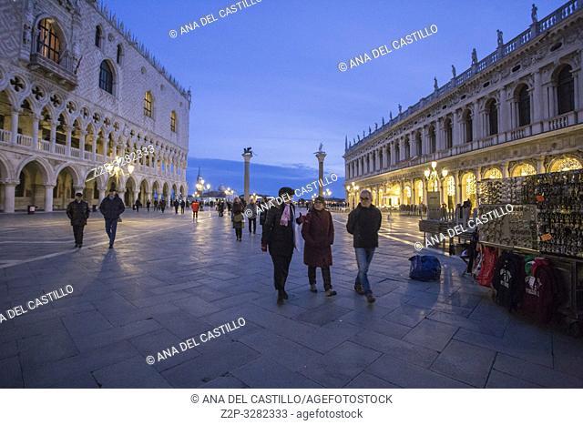 Venice Veneto Italy on January 19, 2019: Twilight at St Marks square