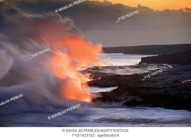 Lava into Ocean, Kilauea Volcano, Island off Hawaii, USA