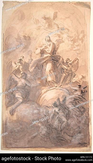 The Virgin Immaculate in Glory (recto); Sketch of a Part of a Leg and a Hand (verso). Artist: Domenico Mondo (Italian, Capodrise near Caserta 1723-1806 Naples);...