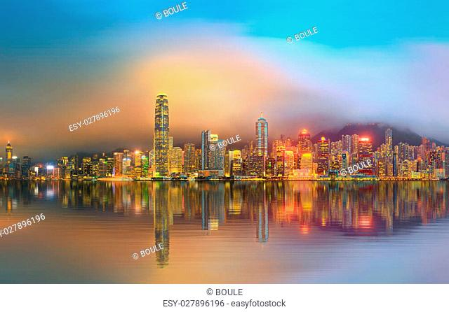 Panorama of Hong Kong island, skyline and Financial district, China