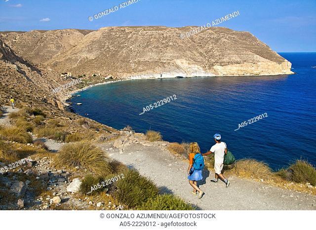 Excursion to Cala San Pedro beach from Las Negras, Cabo de Gata - Nijar Natural Park, Almeria province, Andalucia, Spain