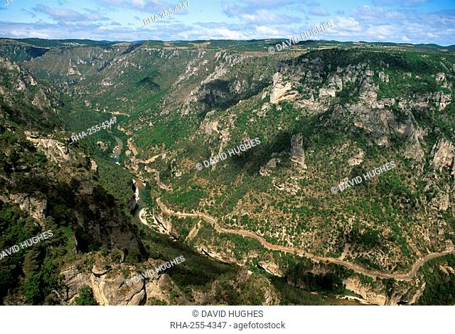 View from Roc des Hourtous of the Gorges du Tarn, Lozere, Languedoc-Roussillon, France, Europe