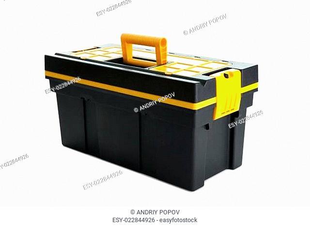 Professional tool box on white background