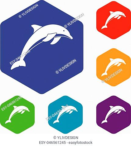 Dolphin icons set rhombus in different colors isolated on white background