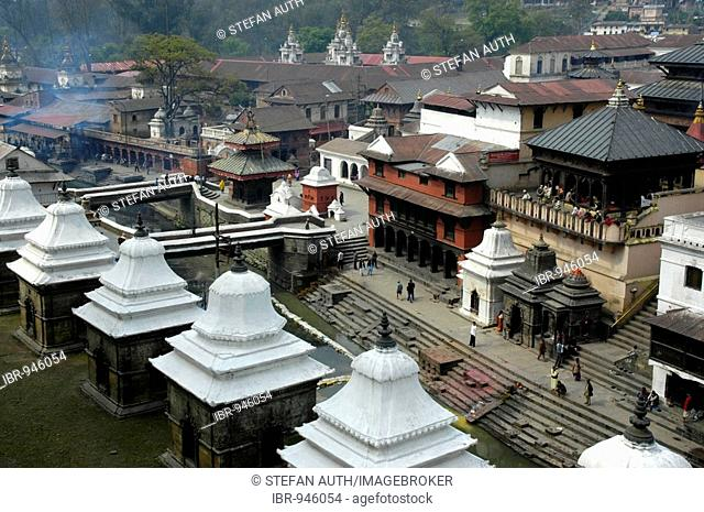 Hindu temple and cremation facilities or crematorium, Pashupatinath, Kathmandu, Nepal, Asia
