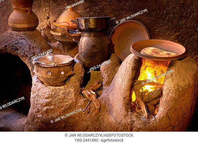 Traditional Berber kitchen. Ourica Valley, Morocco
