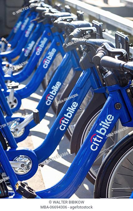 USA, New York, New York City, Lower Manhattan, Citibike, bicycle sharing bikes