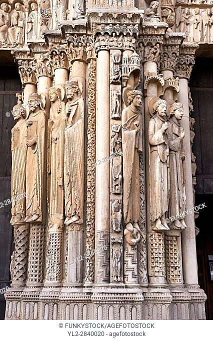 West Facade, Central Portal - Right Jamb Figures- General View c. 1145. Cathedral of Chartres, France . Gothic statues of figures