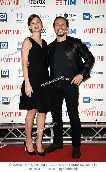 Stefano Accorsi with wife Bianca Vitali during the red carpet of film A casa tutti bene, Rome, ITALY-12-02-2018