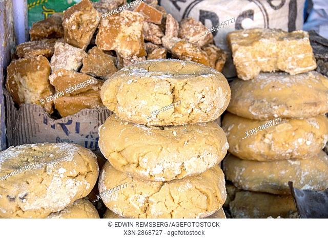 Johri Bazaar; Jaggery sweets piled up in Jaipur, India