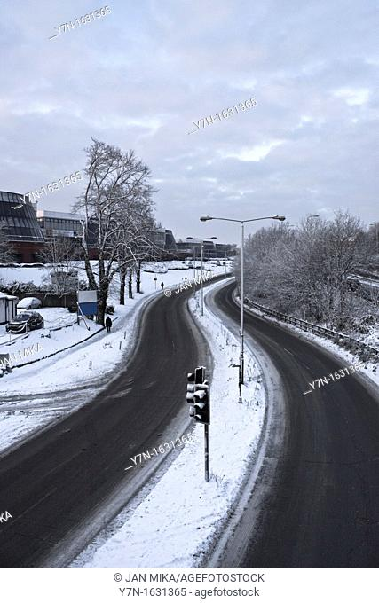 Winding roads in winter  Guildford, Surrey, Great Britain