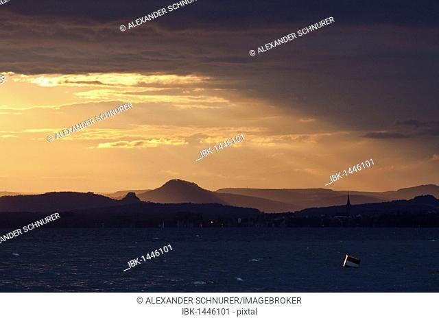 Sunset over the Hegau volcanic cones, retreating thunderstorms, looking towards Radolfzell from Reichenau island, Lake Constance, Untersee lake, Hegau