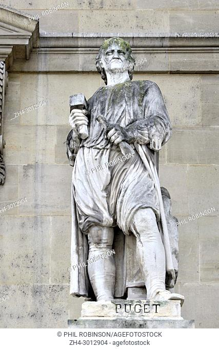 Paris, France. Palais du Louvre. Statue in the Cour Napoleon: Pierre Puget (1620 - 1694) French painter, sculptor, architect and engineer
