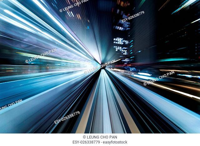 Underground tunnel with blurred light tracks