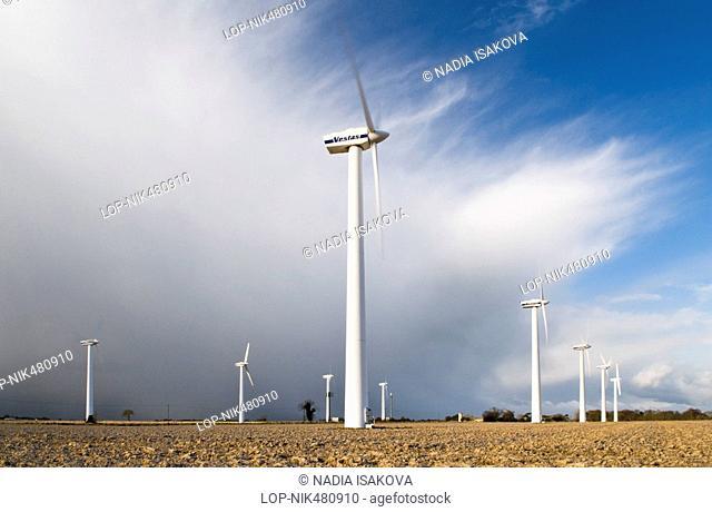England, Norfolk, -, Wind turbines on a wind farm in Norfolk