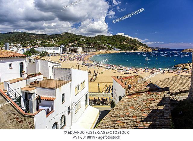 Beach of Tossa de Mar from Villa Vella, Costa Brava, Catalonia, Spain