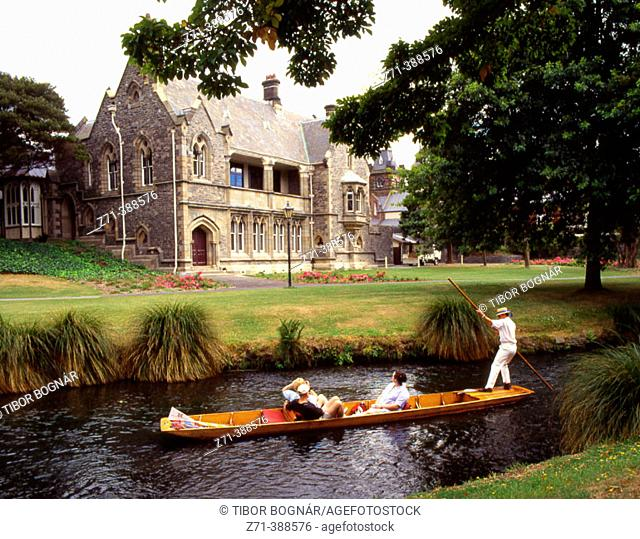 Punting on the Avon River. Christchurch. New Zealand
