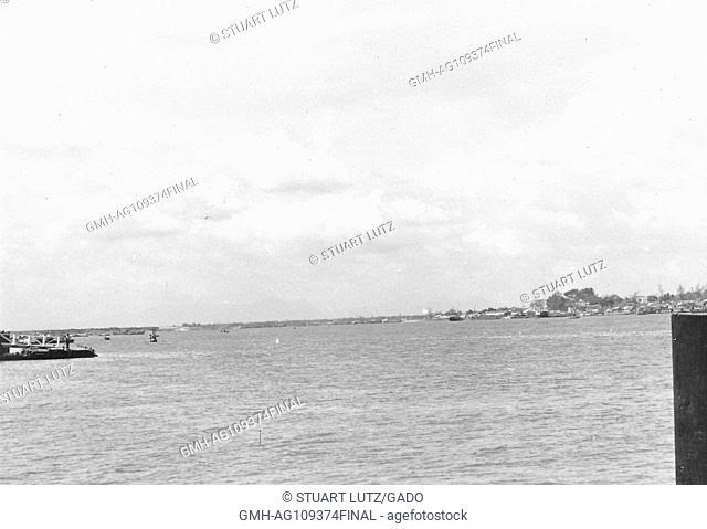 View of a harbor in Vietnam during the Vietnam War, 1965