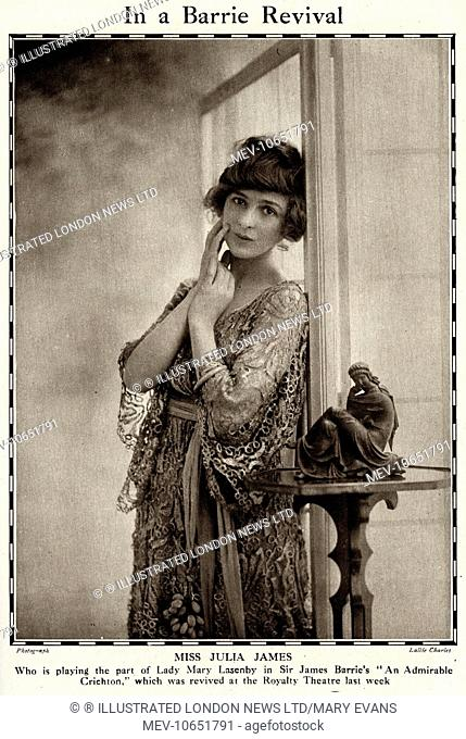 Julia James (1890 - 1964), English actress, playing the part of Lady Mary Lasenby in Sir James Barrie's An Admirable Crichton, Comedy