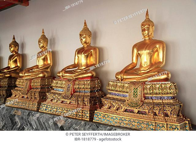 Statues of the meditating Buddha, Buddhist temple Wat Pho, Bangkok, Thailand, Asia