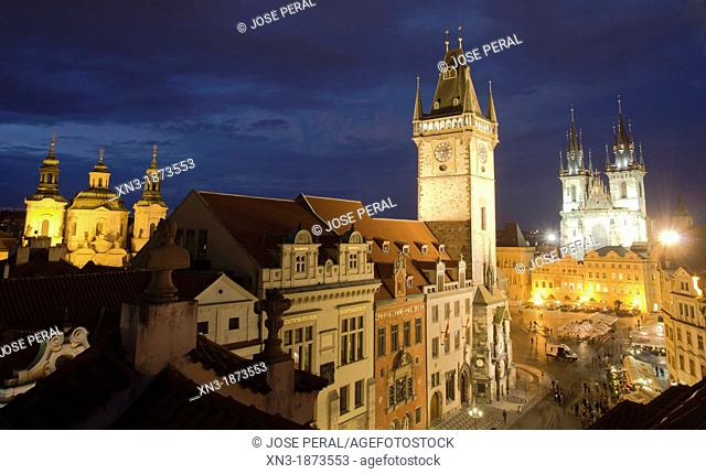 At left St  Nicholas church, Old Town Hall, on background Church of Mother of God before Týn or Church of Our Lady before Tyn, Old Town Square