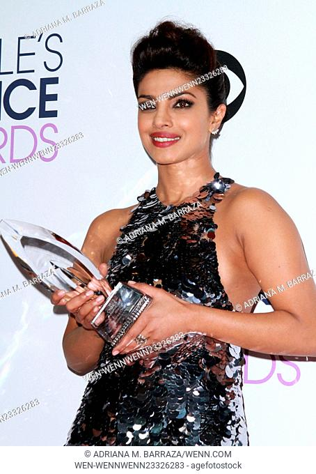 People's Choice Awards 2016 held at the Microsoft Theatre L.A. Live - Press Room Featuring: Priyanka Chopra Where: Los Angeles, California
