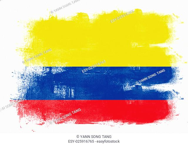Flag of Colombia painted with brush on solid background