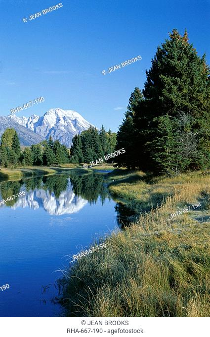 Teton Mountains looking towards Schwabacher's Landing, Grand Teton National Park, Wyoming, United States of America U.S.A., North America