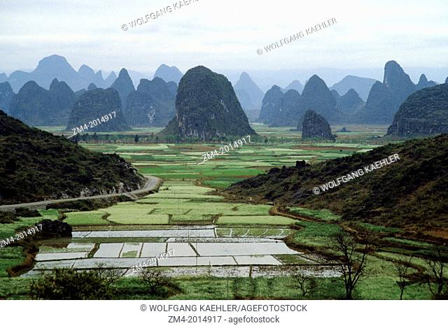CHINA, NEAR GUILIN, VIEW OF LIME STONE MOUNTAINS WITH FIELDS NEAR THE LI RIVER