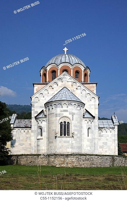 Serbia,Studenica Monastery,founded by Grand Prince Stefan Nemanja,late 12th century,Church of the Virgin,Orthodox,christian,religious,exterior,outside,facade