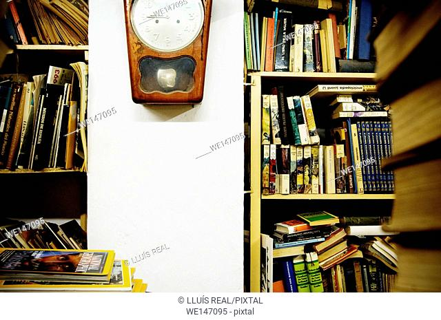 Shelves and wall clock