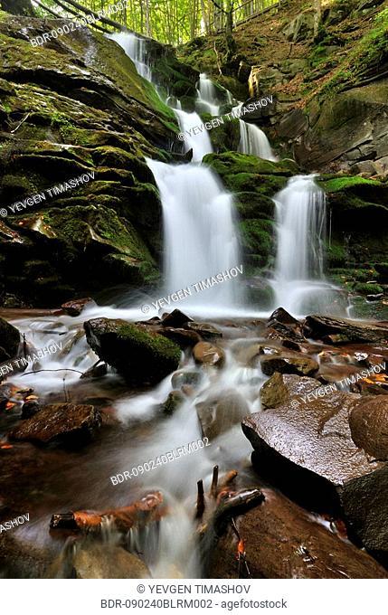 shipot waterfall in zakarpatie region of ukraine