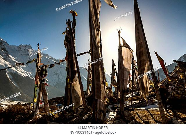 Prayer flags on the earthquake destroyed temple at Kyamjin Gumba, Langtang Valley, Rasuwa, Nepal