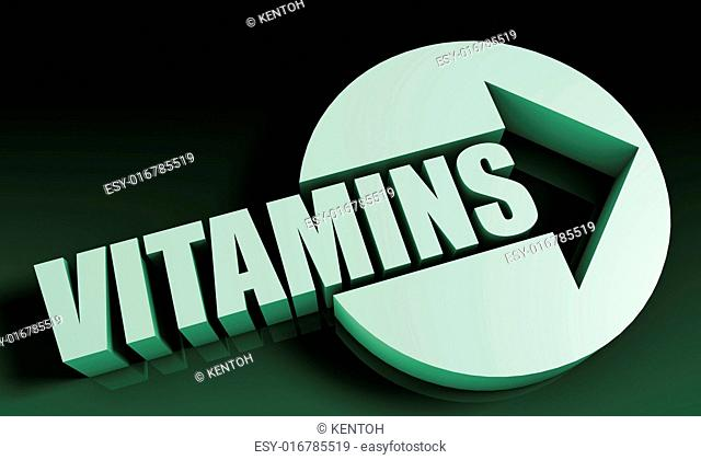 Vitamins Concept With an Arrow Going Upwards 3D