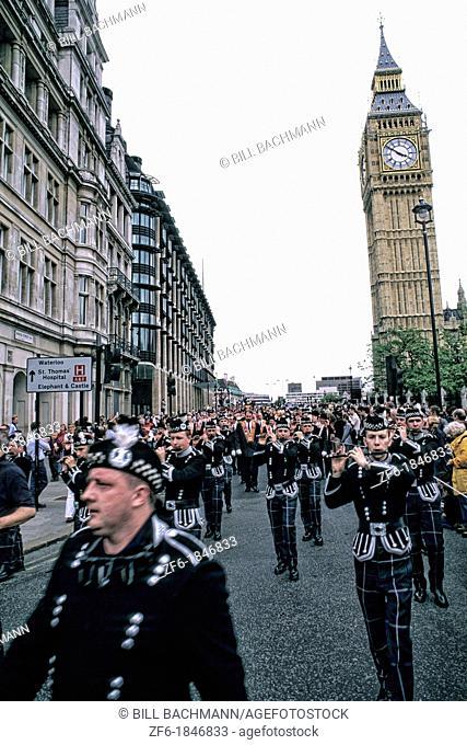 Irish parade at Willaim Orange in front of Big Ben in London England