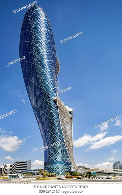 Exterior of the Capital Gate Hotel, designed by the architects RMJM Dubai located in Al Safarat, Abu Dhabi, United Arab Emirates
