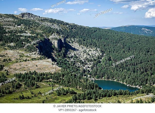 The Black Lagoon from the viewpoint of the Black Lagoon. Laguna Negra Natural Park and Glacier Circuses of Urbión. Sierra de Urbión. Soria
