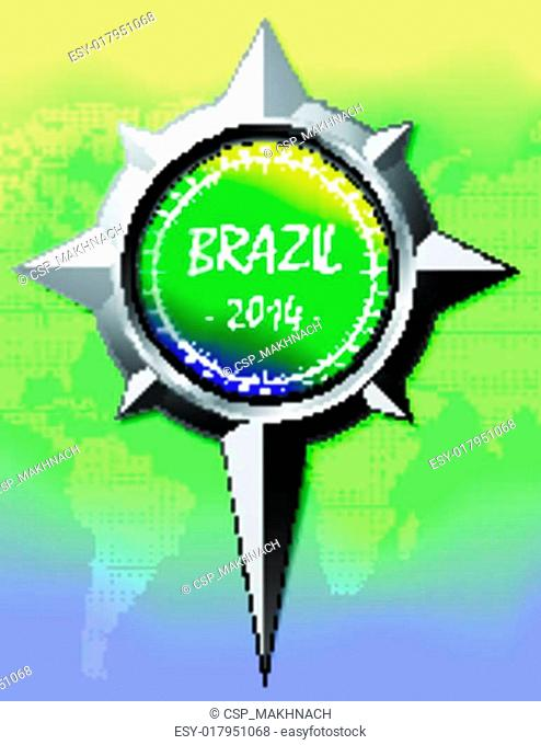 Brazil Summer 2014 Color Background With Compass rose