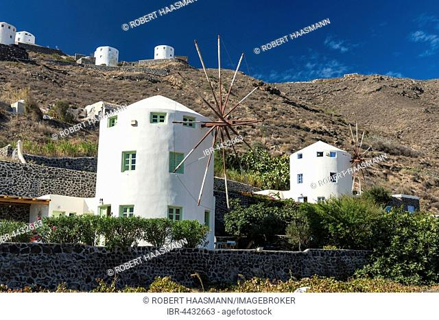 Windmills on hillside, Firá, Santorini, Cyclades, Greece