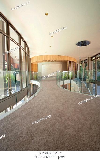 Upstairs walkway of modern home