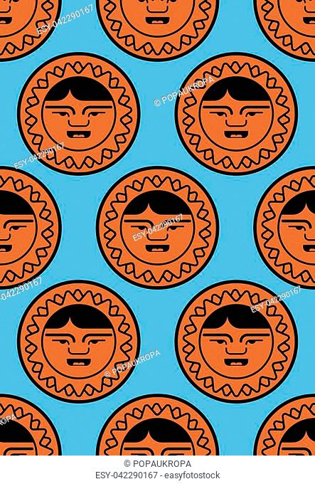 Eskimo pattern. Inuit background. arctic traditional Man of north. Chukchi Vector ornament