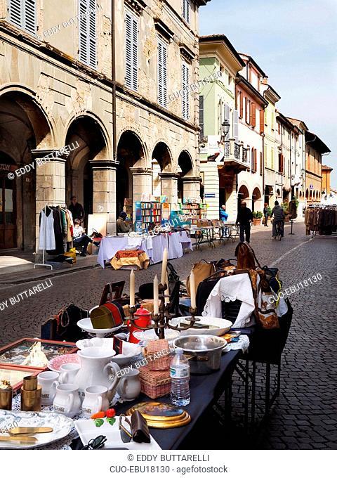 Brocantage street market, Via Roma Street, Busseto, historical center, Busseto, Emilia Romagna, Italy, Europe