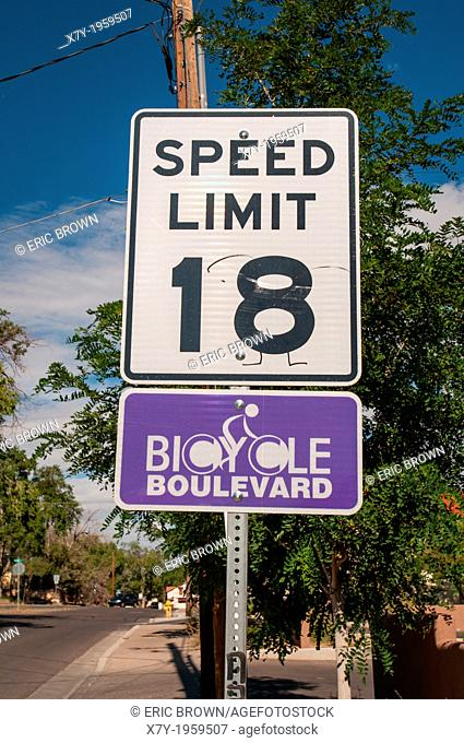 """Special speed limits are enforced in """"""""Bicycle Boulevards"""""""" where cars and bicycles have a speed limit of 18 miles per hour"""